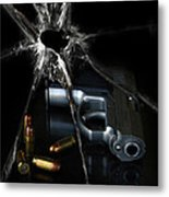 Handgun Bullets And Bullet Hole Metal Print