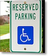 Handicapped Parking Sign Metal Print by Photo Researchers