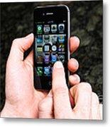 Hands Holding An Iphone Metal Print