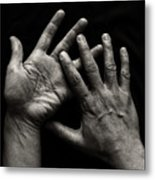 Hands On Black Background Metal Print by Luigi Masella