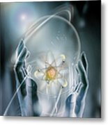 Hands With Atom In Capsule Metal Print