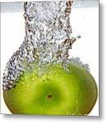 Handy Green Apple Metal Print