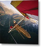 Hang Gliding With Wing-mounted Camera Metal Print