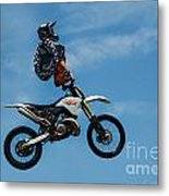 Hanging On Motorcycle Tricks  Metal Print