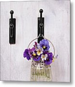 Hanging Pansies Metal Print