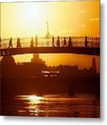 Hapenny Bridge Over River Liffey River Metal Print