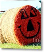 Happy Fall Face Metal Print