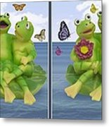 Happy Frogs - Gently Cross Your Eyes And Focus On The Middle Image Metal Print