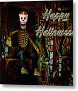 Happy Halloween Skeleton Greeting Card Metal Print