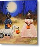 Happy Halloweenies Mummy Policeman And Princess Metal Print by Stella Violano