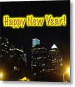 Happy New Year Greeting Card - Philadelphia At Night Metal Print