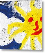 Happy Sun Face Metal Print
