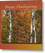 Happy Thanksgiving Birch And Maple Trees Metal Print