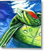 Happy Turtle Metal Print