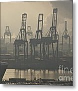 Harbor Cranes Metal Print