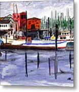Harbor Fishing Boats Metal Print