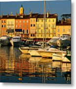 Harbour Boats And Waterfront Houses, St Tropez, Provence-alpes-cote D'azur, France, Europe Metal Print by David Tomlinson