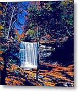 Harrison Wright Falls In Fall Metal Print