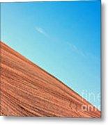 Harvested Crop Lines And Clear Skies Metal Print