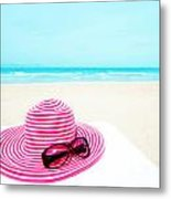Hat And Sunglasses Metal Print