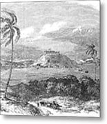 Havana, Cuba, 1851. /na View Of The Harbor And Fort Of Atares. Wood Engraving, English, 1851 Metal Print