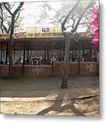 Having A Good Time When Preparing Food In A Booth In The Surajkand Mela Metal Print
