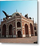 Hawk Flying Next To Humayun Tomb Delhi Metal Print
