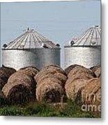 Hay And Grain Bins Metal Print