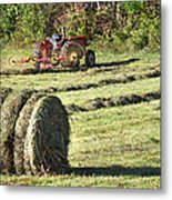 Hay Bale And Tractor Metal Print