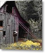 Hay Barn With Random Color Metal Print