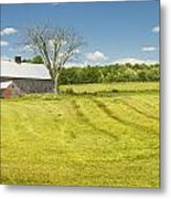 Hay Being Harvested Near Barn In Maine Metal Print