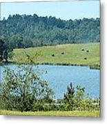 Hay Rolls On A Hill Metal Print