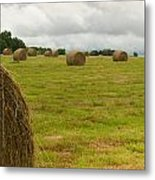 Haybales In Field On Stormy Day Metal Print by Douglas Barnett