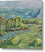 Haying Time In The Valley Metal Print
