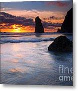 Haystack Sunset Metal Print