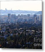 Hazy San Francisco Skyline Viewed Through The Oakland Skyline . 7d11341 Metal Print