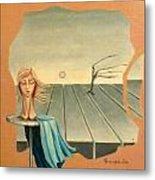 Head In Wind Surrealistic Frame Boards Tree And Hair Waving In Wind Beige Blue Grey Metal Print