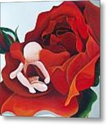 Healing Painting Baby Sitting In A Rose Metal Print