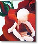 Healing Painting Baby Sitting In A Rose Detail Metal Print