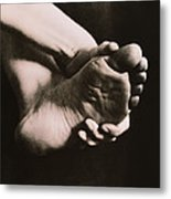 Healthy Sole Of The Foot Held By A Woman's Hand Metal Print