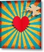 Heart And Cupid On Paper Texture Metal Print