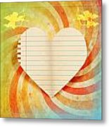 Heart Paper Retro Design Metal Print