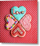 Heart Shaped Love Cookies Metal Print