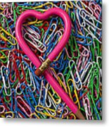 Heart Shaped Pink Pencil Metal Print