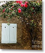 Heart Shutters And Red Roses Metal Print