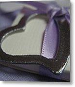 Heart With Purple Ribbon Metal Print