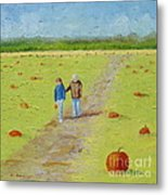 Heather And Poppy Pumpkin Picking Metal Print
