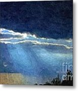Heaven Opening To Let Out The Sun Painterly Style Metal Print