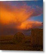 Heavy Clouds And Hay Bales Metal Print