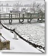 Heavy Snow Falls At Sandwich Marina In Sandwich On Cape Cod Metal Print